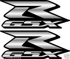 2 Custom Silver GSXR Decals Stickers 600 750 1000 hayabusa 1300 fairing plastic