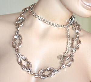 CINTURA ARGENTO gioiello donna stringivita metallo lucido catena elegante G67