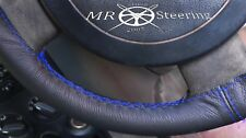 FOR NISSAN PATROL 97-10 BLACK LEATHER STEERING WHEEL COVER R BLUE DOUBLE STITCH