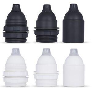 Fassung E27 Lampenfassung aus Thermoplast inkl. Zugentlastung - schwarz / weiß