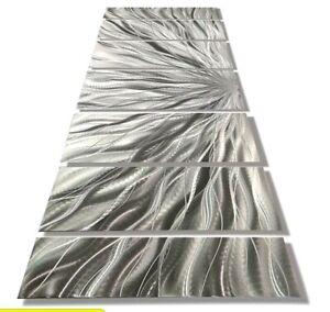 Modern Metal Wall Art Sculpture Jon Allen Silver Plumage Signed Original Art