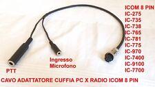 CAVO ADATTATORE DA CUFFIA PC A RADIO ICOM IC-765 IC-775 IC-781 IC-7400 IC-7700