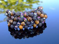 Tiger Eye Lava Crystal Natural Gemstone Necklace Healing Stone Chakra Reiki