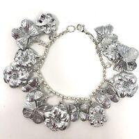 Arthur Court Signed Charm Bracelet Aluminium 7in Flowers Butterflies