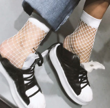 2 Pairs Women White Fashion Fishnet Socks Fast Delivery