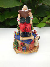 WE WISH YOU A MERRY CHRISTMAS~SANTA ROCKING CHAIR MUSIC BOX~TOYS~ELVES~BELL~