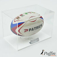 Perspex Rugby Ball Display Case - White (Landscape)