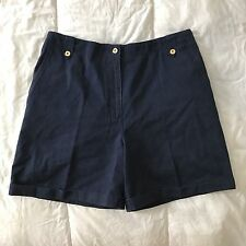 Lauren Ralph Lauren Navy Cotton Chino Cuffed Shorts Flat Front 14 gold button A2