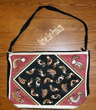"Purse Handbag Many Dancing Kokopelli Cotton Canvas 13x19"" Zips Style #97"