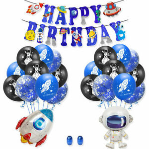 Blue Gold Spaceman Astronaut Happy Birthday confetti balloons Kid Child Party