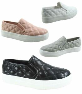 Women's Fashion Slip On Round Toe Double Platform  Flat Quilted Sneaker Shoes
