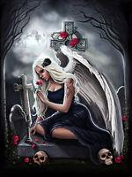 Full drill Diamond Painting Cross Angel Girl Skull Rose Flower Handicraft 6859X