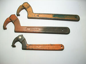 JH Williams (3 Lot )  2- 474  - 1 - 472 Adjustable Spanner Hook Wrenches  USA