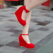 Womens High Platform Wedge Heel Ankle Strap Bow lita Suede mary Jane Pump Shoes