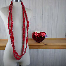 Heart Shaped Sequinned Red Plush Pillow Valentine's Day w/ Red & Silver Lanyard