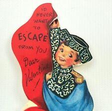 Vtg 40s 50s Valentines Card Bullfighter Matador Ephemera Greeting Boy Die Cut