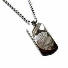 925 Sterling Silver Winter Is Coming Stark Game Of Thrones Engraved Dog Tag & Ch