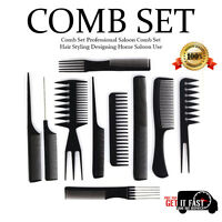 NEW COMB SET HAIR STYLING COMB SET PROFESSIONAL BLACK HAIRDRESSING BRUSH BARBERS
