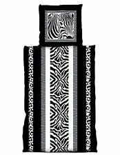 4 tlg Bettwäsche 135 x 200 cm Zebra schwarz weiß 2 Garnituren NEU