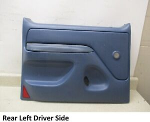 92 to 97 Ford F250 F350 Driver LH side Rear Door Trim Panel Blue Textured OEM