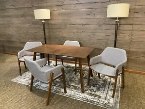 """MCM Set of 5 Dining Set Celia Chairs Mid-Century Dining Table and Chairs 48"""""""