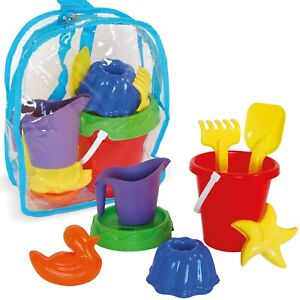 Kids Beach Sand Castle Bucket & Spade Backpack Bag Outdoor Water Garden Toy Set