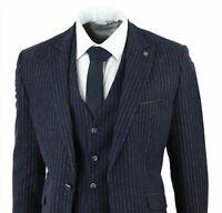 Mens 3 Piece Pinstripe Wool Suit Tweed 1920s Formal Wedding Business Suits