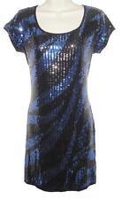 Internacionale Black Blue Sequin BodyCon Dress Size 12 Party Xmas Washable