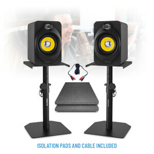"""XP40 Active Powered Studio Monitor Speakers 4"""" Multimedia DJ (Pair) with Stands"""
