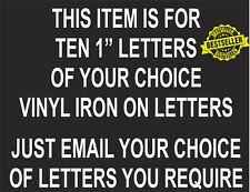 """Pack Of 10 IRON ON HEATPRESS Letters Size 1""""  / FOOTBALL /  WHITE / Personlize"""