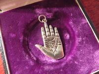 Hübscher 925 Silber Anhänger Hand Glaube Religion Segen Außergewöhnlich Modern