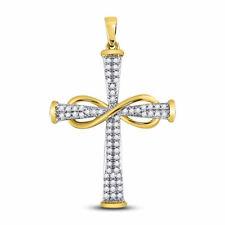 10kt Yellow Gold Womens Round Diamond Cross Infinity Pendant 1/5 Cttw