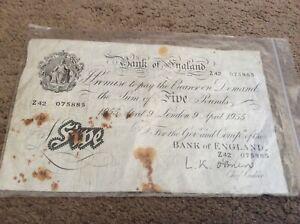 White Fiver - Five Pounds Note.April 9 1955 O'Brien