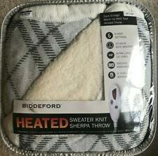 "Biddeford Heated Sweater Knit Sherpa Throw 50"" x 62"" Blanket 10 Hr ShutOff"