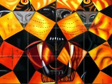 "cinquenta tigre real dali painting ceramic tile mural 24""x18"" backsplash"