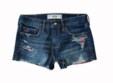 NEW HOLLISTER WOMENS JEAN DENIM CUT OFF HEM DISTRESSED HIGH RISE SHORTS SZ 3 W26