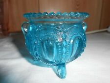 """VERY RARE 1920's """"BEADED OVALS IN SAND""""BLUE FOOTED TOOTHPICK HOLDER~DUGAN GLASS"""