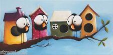 Original acrylic painting art canvas whimsical busy little crows birdhouse