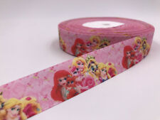 DIY 5 Yard 1'' Printed Grosgrain Ribbon Hair Bow Sewing Ribbon Cartoon princess