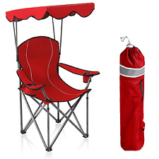 Camping Chairs With Canopy Shade Portable Outdoor Folding Chair Heavy Duty Red