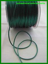 (€0,19/m)=MOOSGRÜN=Satin Schnur/Kordel=10 Meter x 2mm=grün/grüne Schnur=flechten