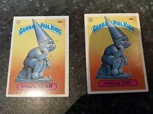 Garbage Pail Kids Stickers,90a 90b, Stonef Sean Thick Vic, Topps collectables