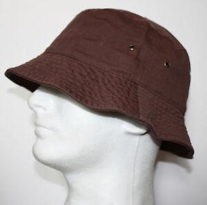 MEN 100% COTTON FISHING BUCKET HAT CAP - BEIGE BLACK GREEN NAVY WHITE - S/M L/XL