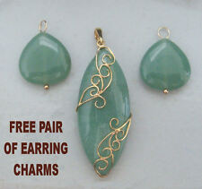 67.50ctw Green Aventurine SLIDE Enhancer Pendant 14K YG + FREE EARRING JACKETS