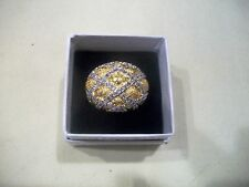 NOLAN MILLER Signed Sz 7.5 Ring SHOWPIECE DOME Silver & Goldtone Crystals WOW
