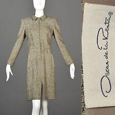 Medium Vintage 1980s 80s Oscar de la Renta Tweed Dress Front Zip Business Large