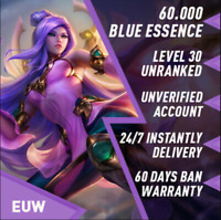 League of Legends Unranked Account EUW LOL Smurf 40,000 - 60,000 BE Level 30+ PC