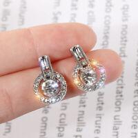 18K Gold Plated Round Zircon Hoop Earrings Dangle Dop Earrings Jewelry Gift