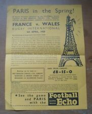 1959-France/Pays de Galles, dragon rouge (de voyage) Ltd. Itinéraire/Pub.