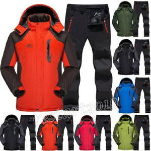 Ski Suit Set Jacket and Pants Waterproof Thermal Fleece Winter Snow Clothes Set